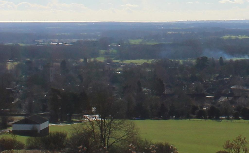 Charing village from the North Downs,