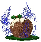just dessert - a christmas pudding on a plate with holly cream and blue flames